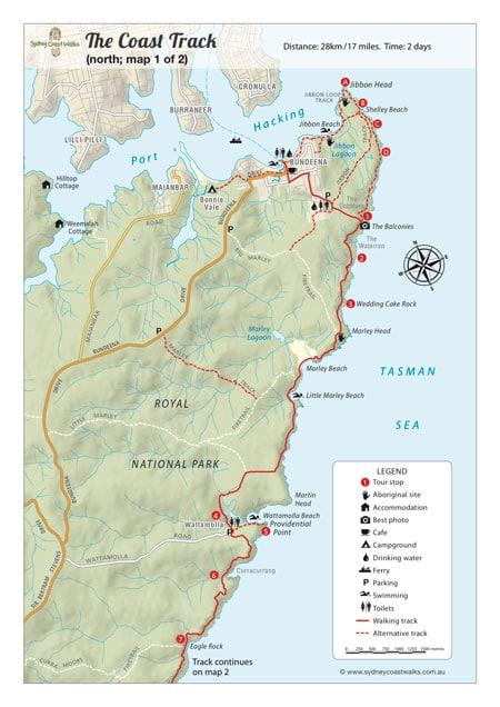 Royal National Park Map Royal National Park Coastal Walk Map   Sydney Coast Walks