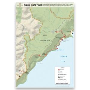 This an image of the Figure 8 Pools Royal National Park Map. It shows how to walk to Figure 8 Pools in Royal National Park.