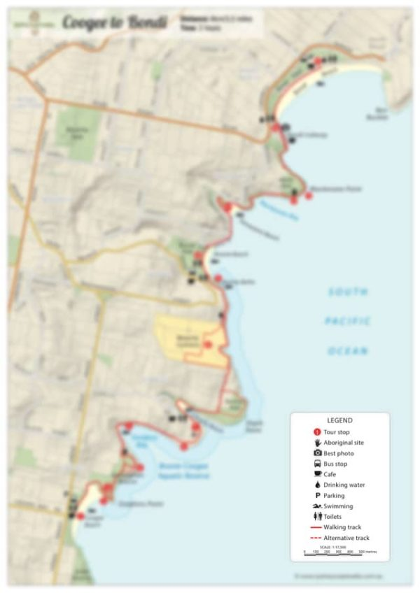 Bondi to Bronte walk map